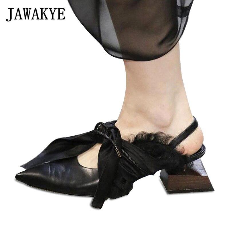 Zapatos de fiesta con tacón cuadrado en forma de madera de JAWAKYE, lazo de seda de piel auténtica para mujer, zapatos de pasarela con punta atada, zapatos de tacón especial para mujer
