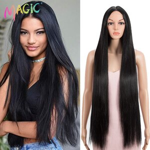 Magic 38inches Nature Straight Wig Middle Part Synthetic Lace Wig Black Wig for Black Women Heat Resistant Fiber Lace Part Hair