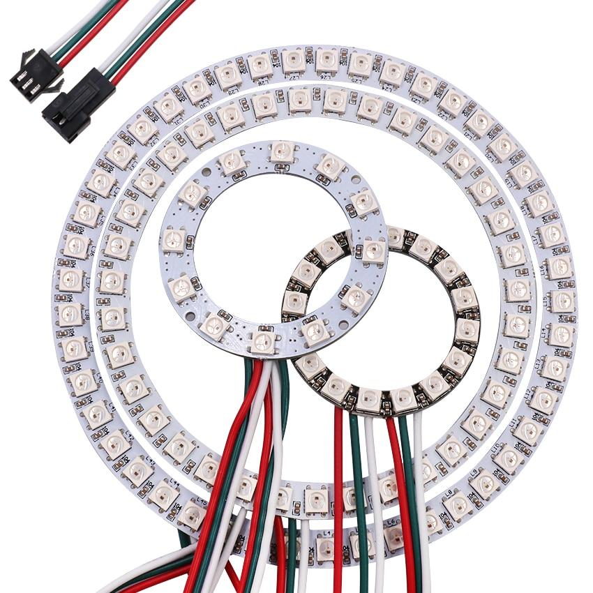 5v usb 18 key infrared controller 10m sk6812 ws2812b rgb full color individually addressable led string fairy light fairy light 5V Pixel Ring Round LED Circle Addressable WS2812B SK6812 Full Color RGB LED Modules 1/8/12/16/24/32/40/48/60/241 Led