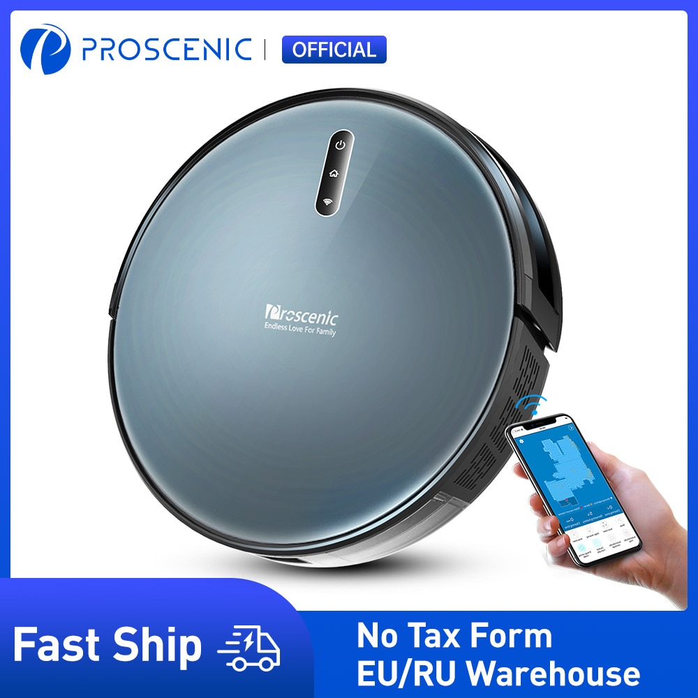 Proscenic 830P Robot Vacuum Cleaner, Wi-Fi and Alexa Control, with 350ML Water Tank, Efficient Cleaning and Mopping For Carpet
