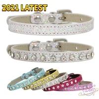 swt pu shiny diamond leather diamond collars for dog puppy fashion cute leash collar kitten accessories