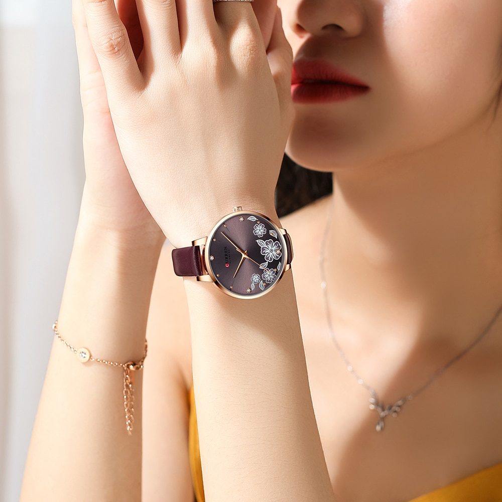 Luxury Dress Quartz Watches Women Fashion Clock Leather Mesh Ladies Wristwatch CURREN Brand Women's Watch Gifts For The New Year enlarge