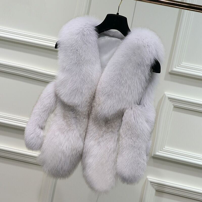 Fur Waistcoat Female Imitation Fox Fur Vest Large Size Wild V-Neck Haining Retro Sleeveless Jacket Waistcoat Women Winter B18