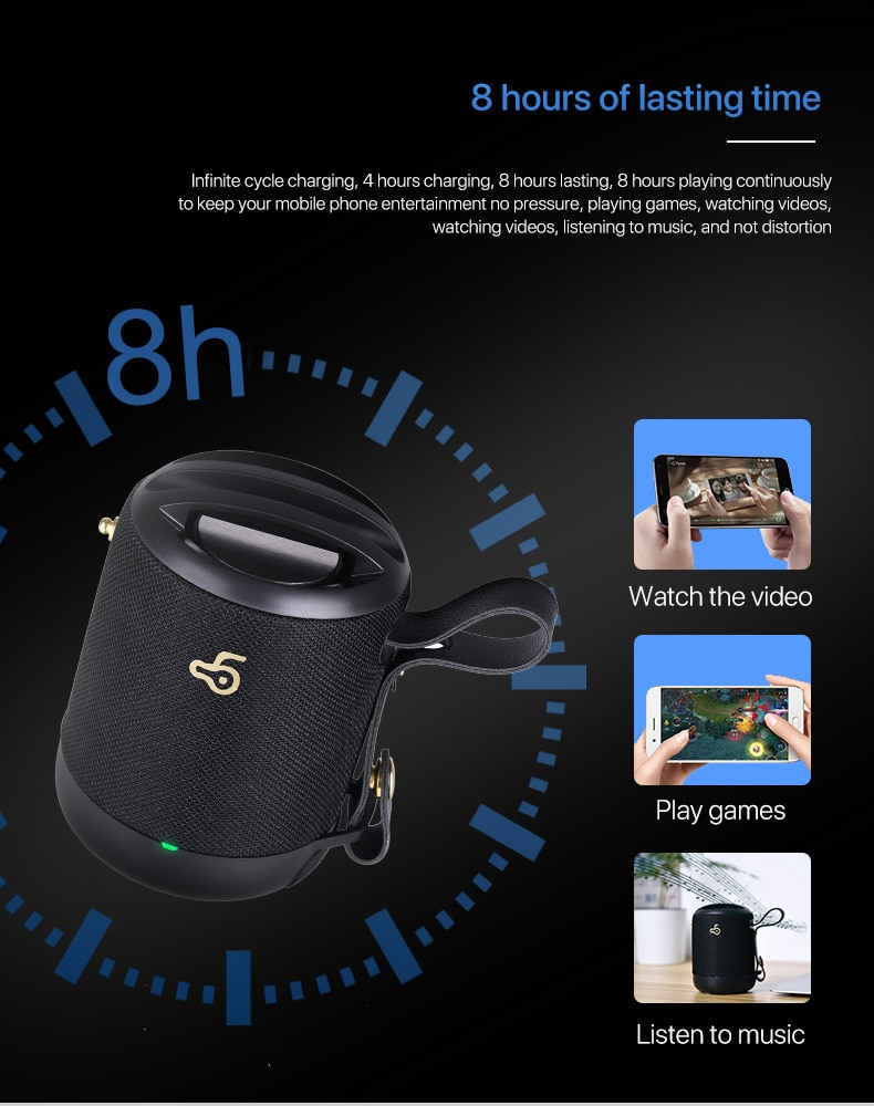 Mini Portable Outdoor wireless bluetooth speakers bass Column waterproof with microphone support TF card FM radio aux wired usb enlarge