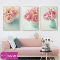 Toile de decoration de noel  affiches de peinture  fleur Rose  tableau dart mural pour salon  decoration de maison