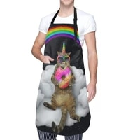 cat unicorn kitchen cooking apron waterproof chef bib apron adjustable with 2 pockets for men