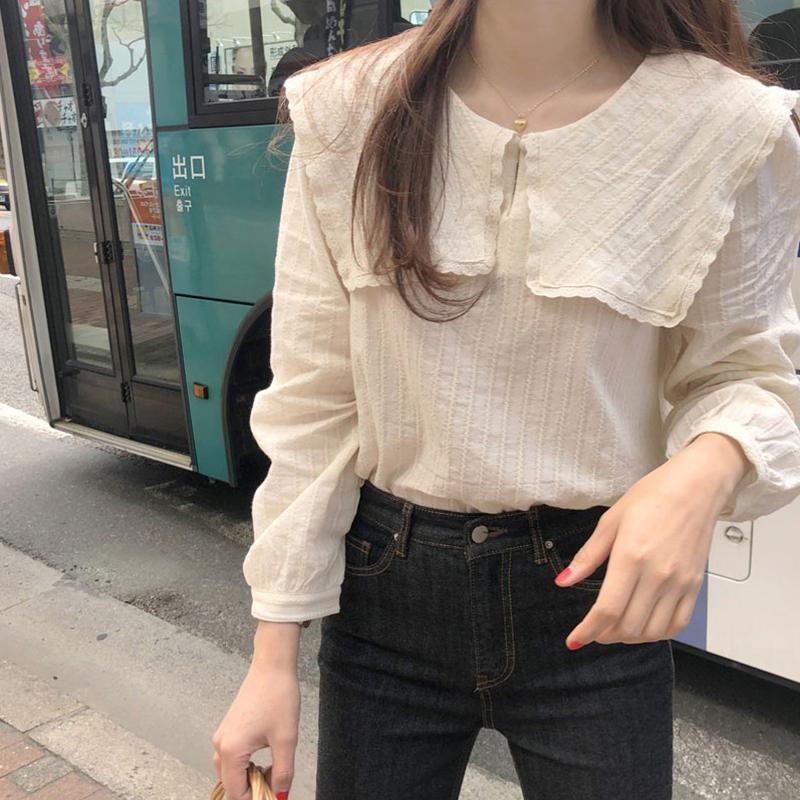 Blusa de mujer MISSKY primavera otoño Color sólido costura encaje muñeca-collar Jacquard largo-Manga camisa Mujer Tops nuevo