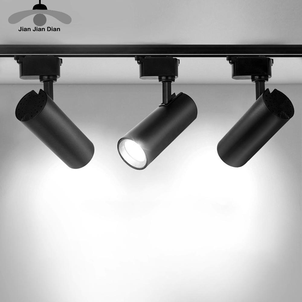 COB LED Track Light 12W 20W 30W Rail Lamp Indoor Lighting AC 220V 240V Angle Adjustable Spotlight Clothing Store Dressing Room