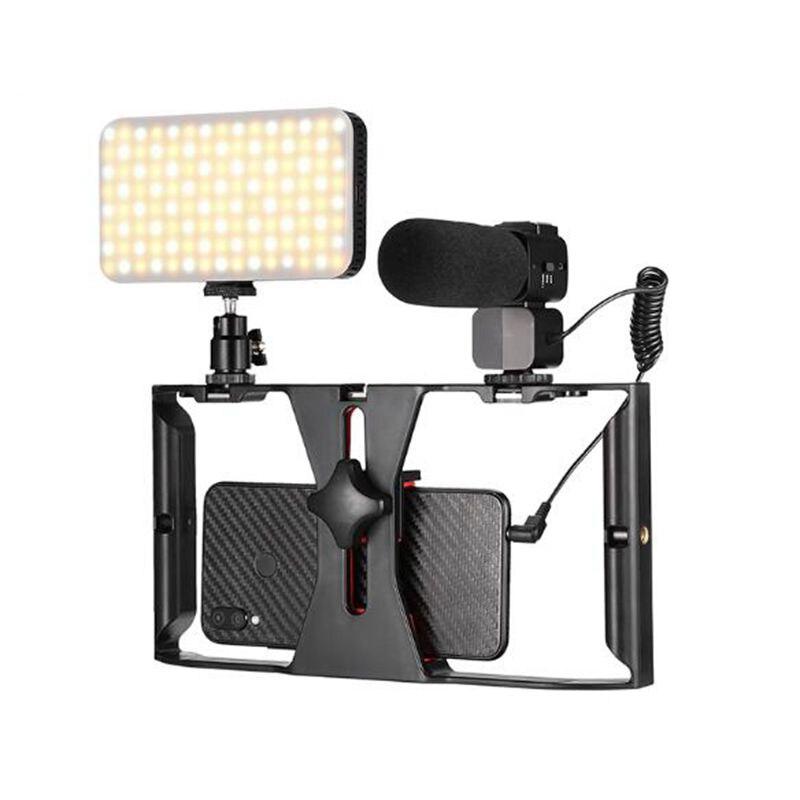 Kit Vlogging luz led para vídeo iluminación fotográfica micrófono estabilizador para grabación en vivo de Smartphone