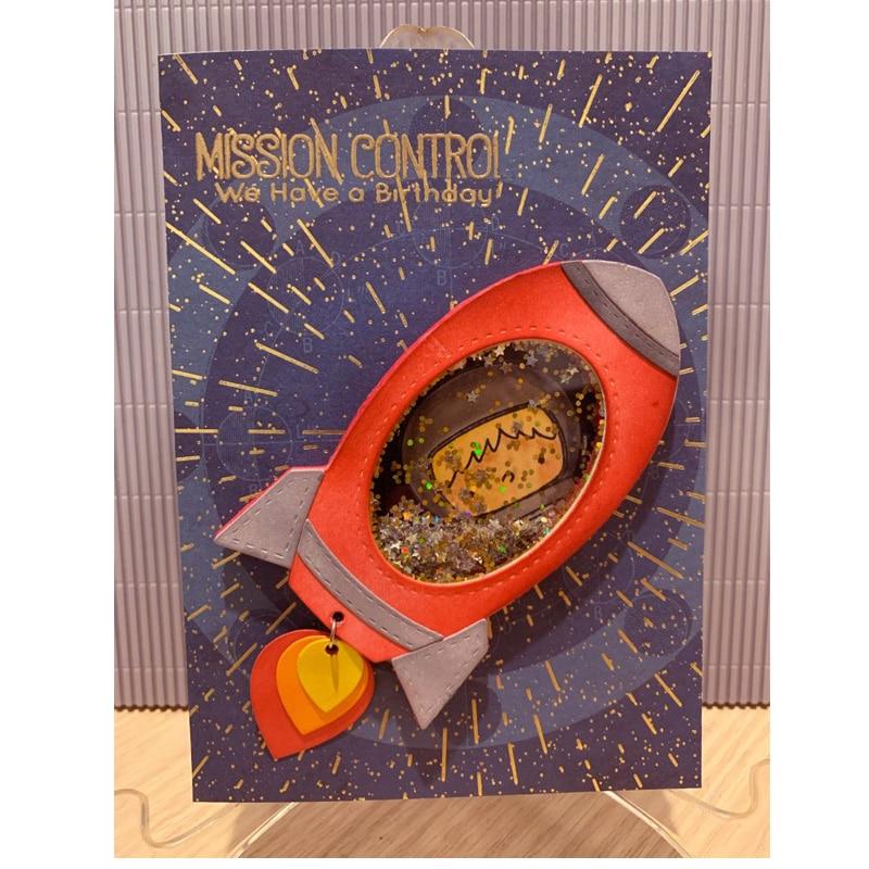 2020 New Design Metal Cutting Dies Space Rocket Shaking Frame Dies Scrapbooking Stamps Stencil Die Cut Craft Album Card Making