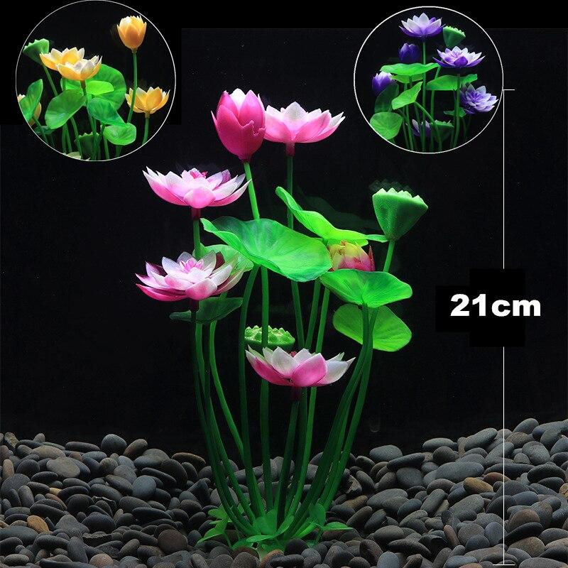 Decoración de plantas artificiales para acuario, paisajismo del tanque de peces, césped de agua púrpura, adornos de loto, decoración de planta de hierbas acuáticas
