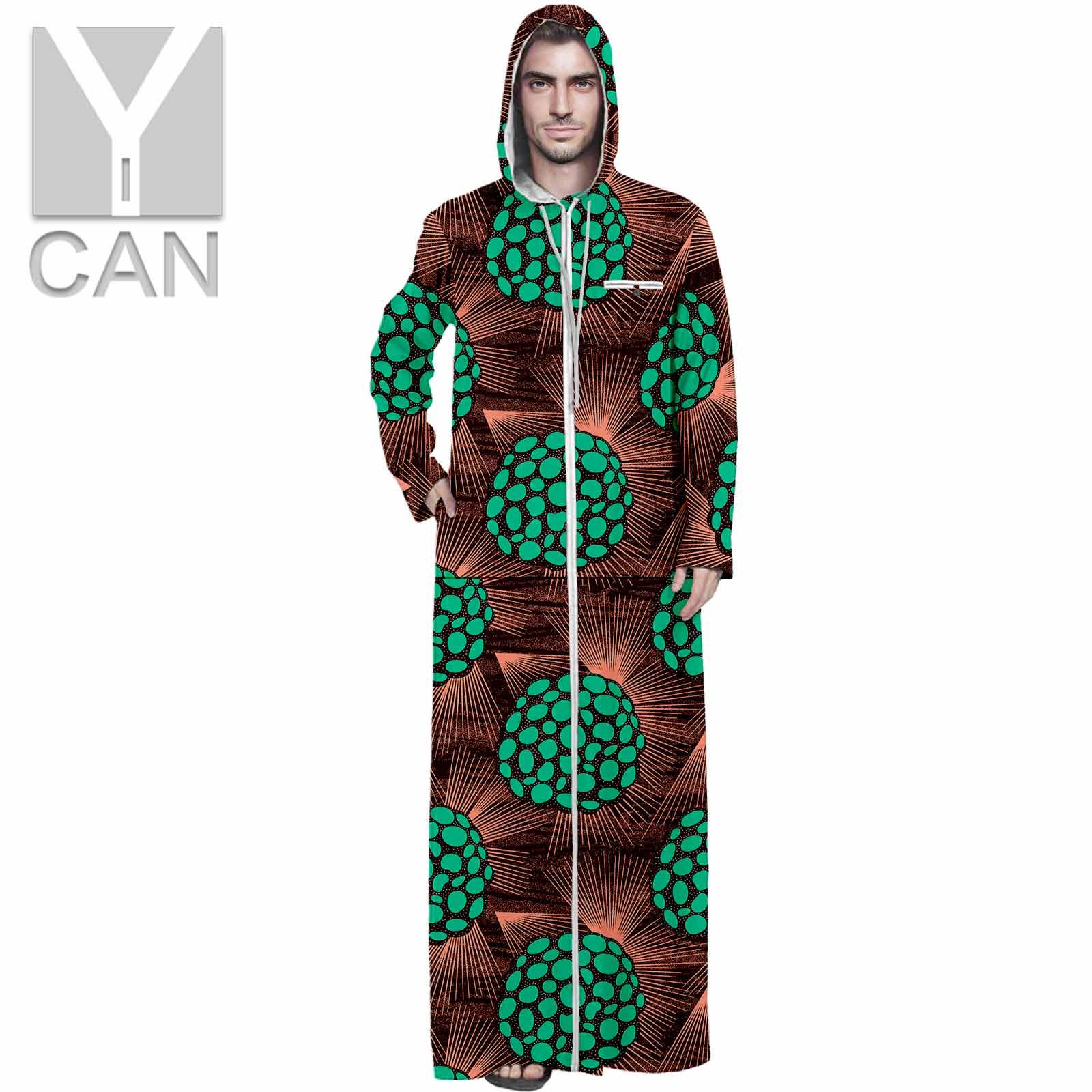 Y-CAN Men Ankara Print Dashiki Hemming  Hooded Long Sleeve Agbada Loose Long Coats Texture Fashion Comfortble Robes Y211001