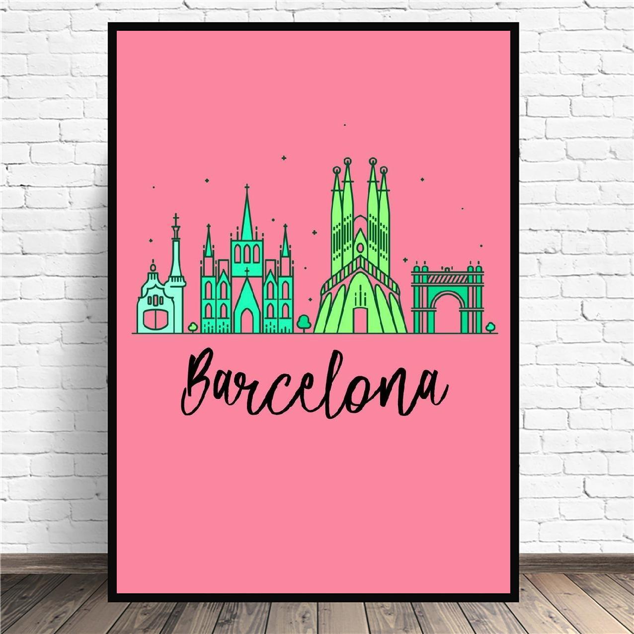 Pintura en lienzo de la ciudad de Barcelona Pop, Póster Artístico impreso,...