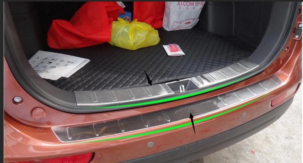 2 pçs 2013 2014 para mitsubishi outlander choques traseiro protetor porta passo painel de inicialização cobertura exterior placa peitoril trunk deck