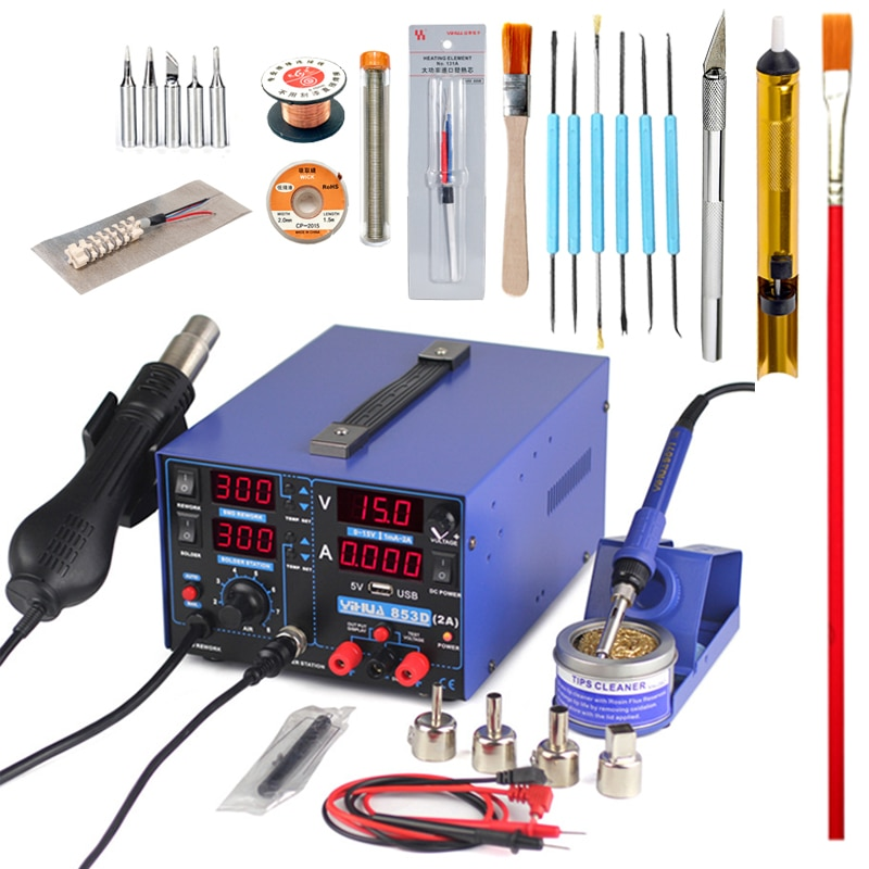 YIHUA 853D Rework Soldering Station 4 in 1 Hot Air Gun Soldering Iron USB Output 15V 2A DC Power Supply New BGA Welding Stations