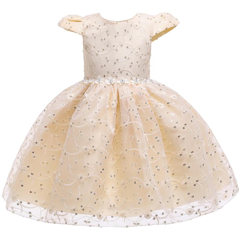 Kids Lace Sequins Tutu Dress Baby Girls Birthday Party Beaded Formal Flower Dresses Summer Children's Sleeveless Cupcake Dress