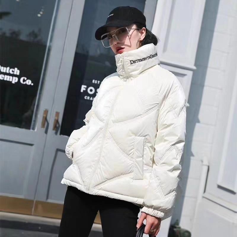 Пуховик женский из искусственной кожи, куртка с ярким шелковым наполнителем, с вышивкой букв, с воротником-стойкой, зима 2020 gucci пуховик с синт наполнителем