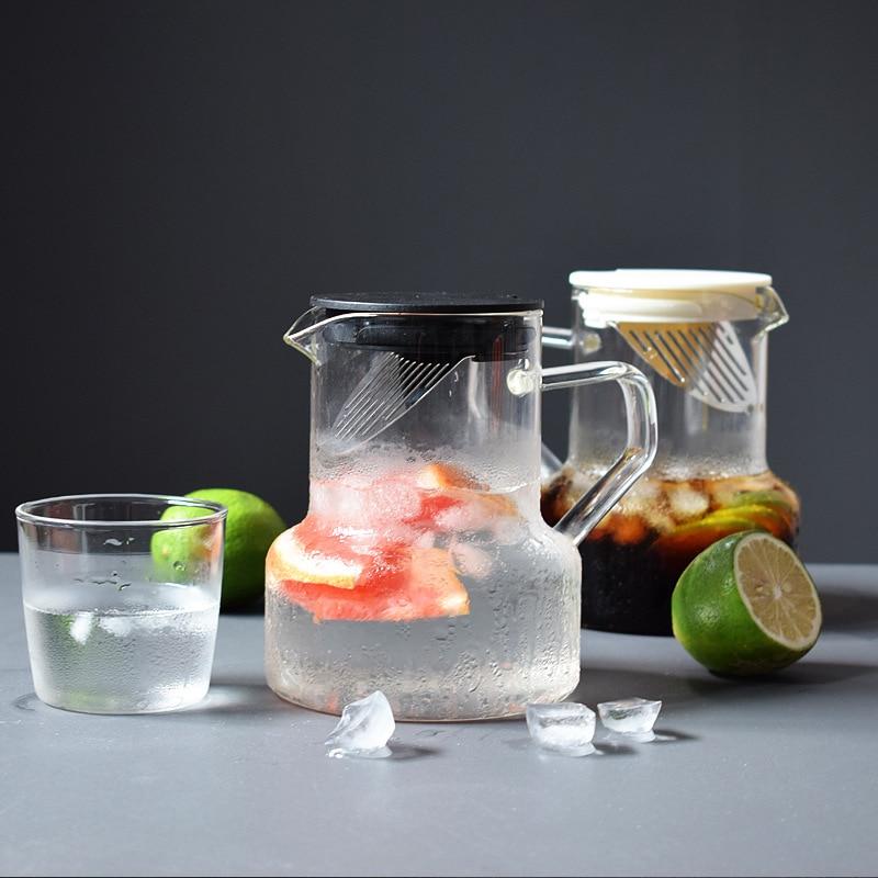 إبريق ماء زجاجي على الطراز الاسكندنافي ، مقاوم لدرجة الحرارة العالية ، فلتر إبريق شاي الفاكهة ، سخان شاي ثابت للمنزل