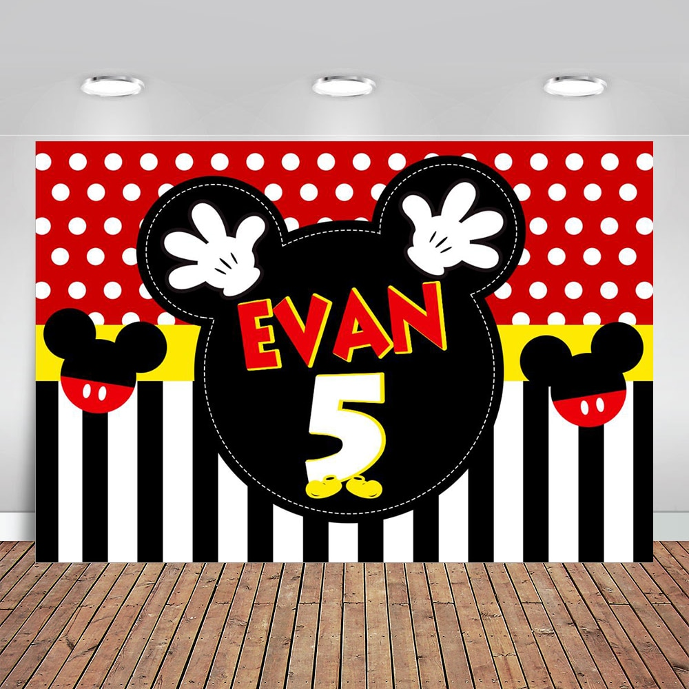Mouse 2nd Boy's Party Birthday Photography Backdrop Oh Twodles Photo Background Supplies Photo Studio Props Decorations Banner