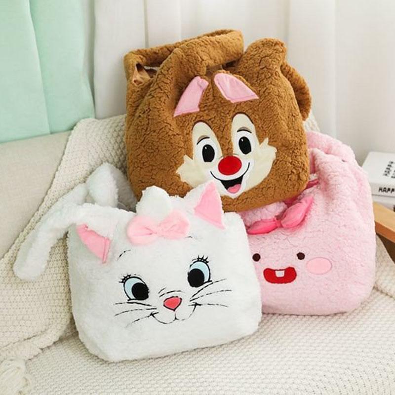 ¡Candado guo! Bolso de hombro suave para regalo de Navidad y cumpleaños, adorable peluche con dibujo de mariquita, gato, oso, Dumbo, conejo rosa