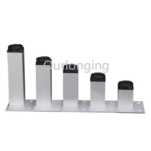 4PCS Aluminum Alloy 18mm Adjustable Square Furniture Legs Cabinet Sofa Silver