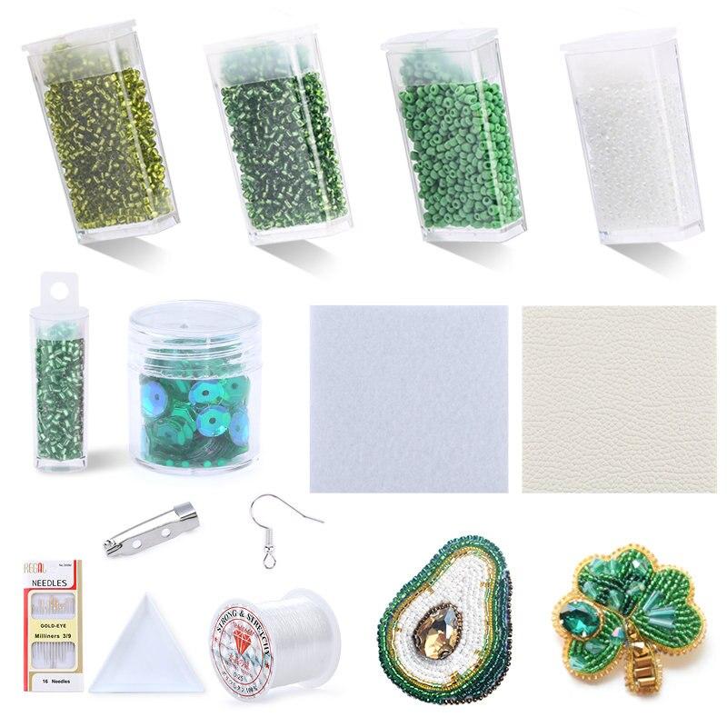 Conjunto de Kits de bordado de cuentas de semillas, suministros para bordado de costura, joyería de tela no tejida, herramienta de costura de artesanía A mano DIY