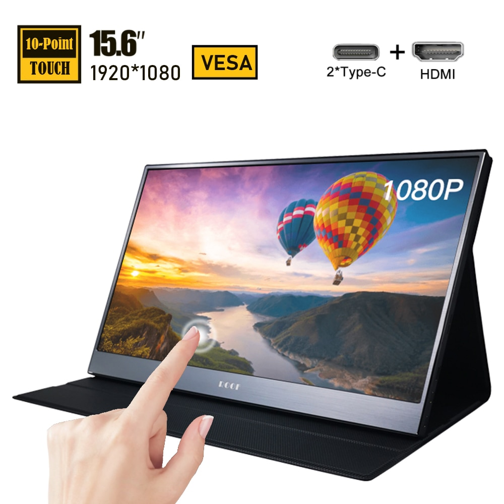 15.6 Inch Touch Screen Portable Led Monitor FHD USB-C Computer Display IPS VESA with HDMI Type C for