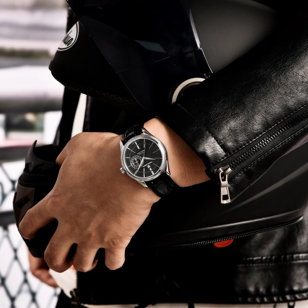 PAGANI DESIGN 2021New Quartz Mechanical Watches men 200MWaterproof VH65 Genuine Leather Men's watch Fashion Casual SapphireWatch enlarge
