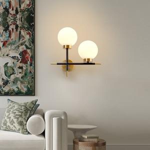 New Glass Ball Wall Lamp Round Lamp Shade Interior Modern Lighting Fixture Sconce Living Kitchen Aisle Hallway E27 Decor Light