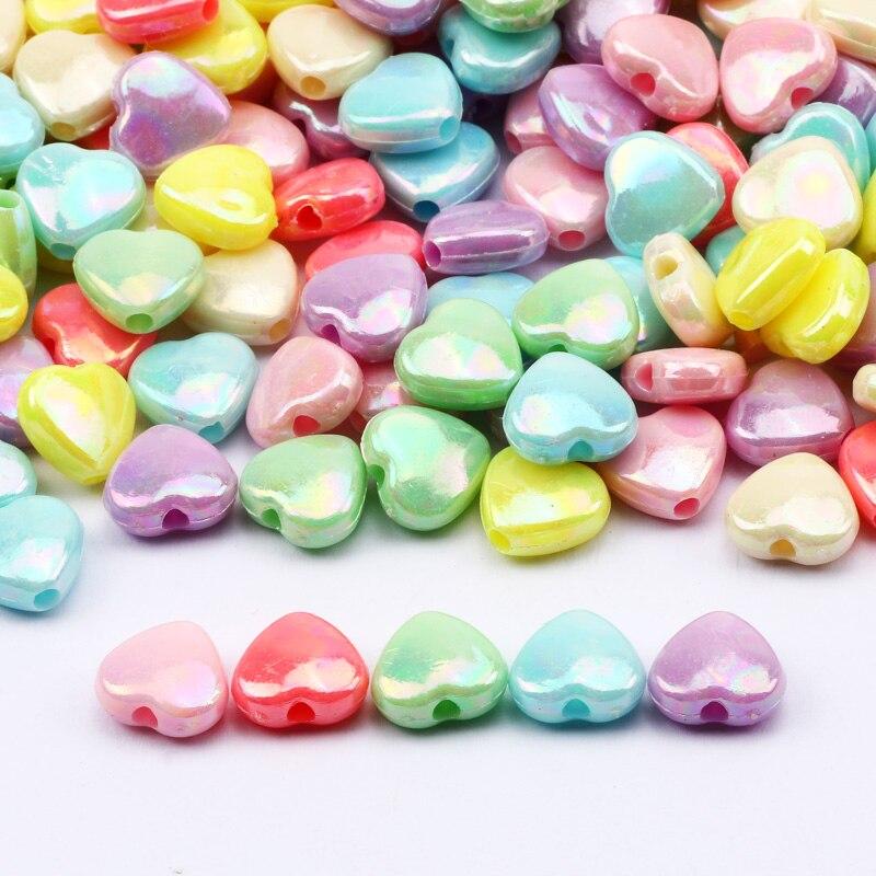 10x11mm acrílico charme contas coração mix colorido solto espaçadores contas por atacado para fazer jóias diy artesanal acessórios