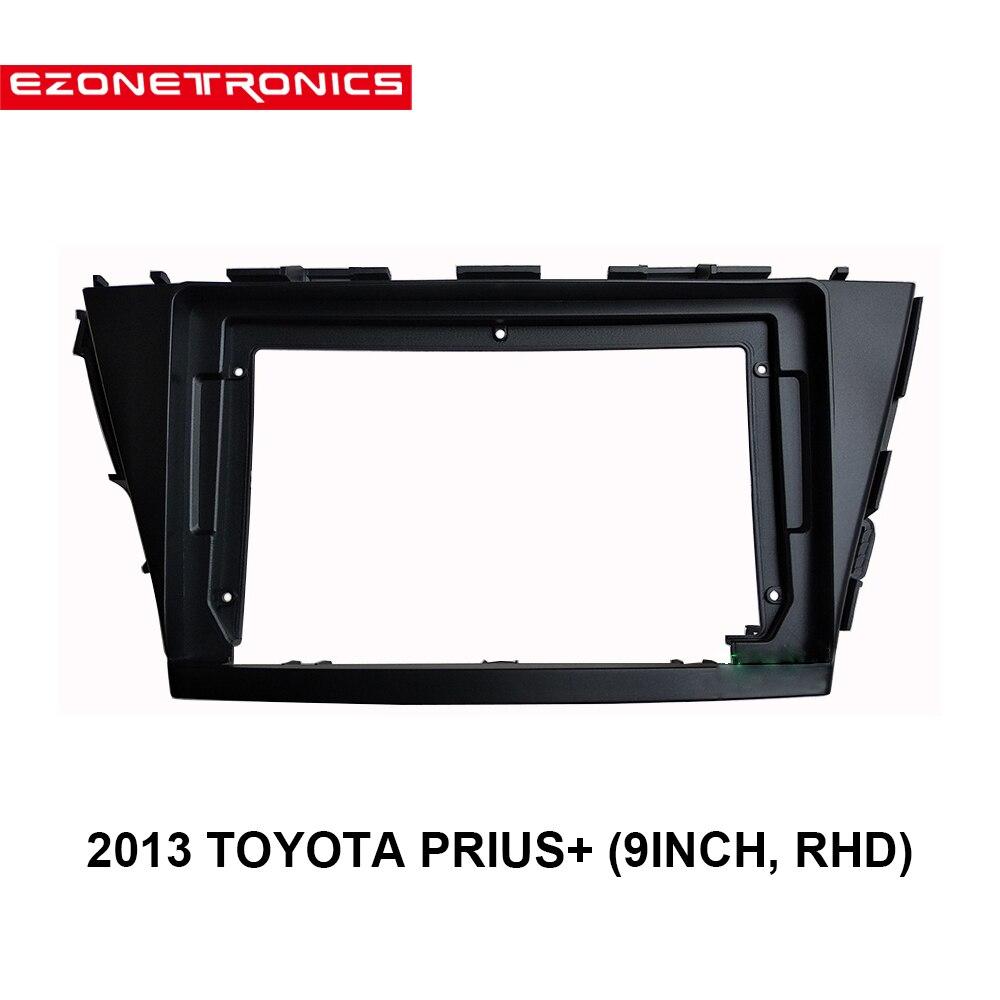 1/2Din DVD del coche de adaptador de conexión de Audio Dash Trim Kits de Facia Panel 9 pulgadas para TOYOTA PRIUS + 2013 doble Din reproductor de Radio