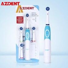 Brosse à dents électrique rotative AZDENT alimentée par batterie avec 4 têtes de brosse soins dhygiène bucco-dentaire pas de brosse à dents Rechargeable nettoyage buccal
