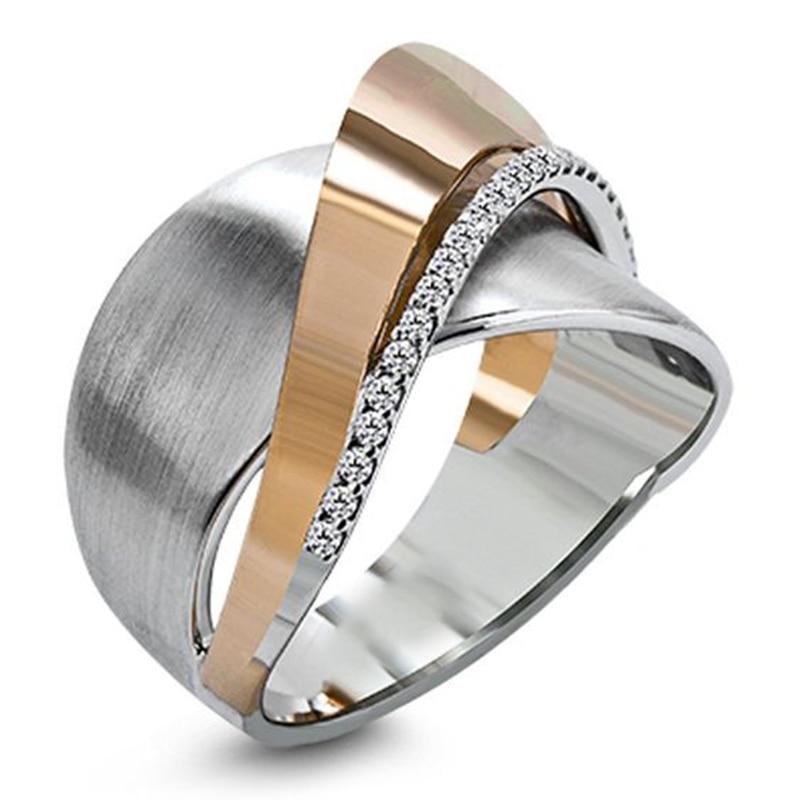 Nuevo diseño cruzado dos tonos lazo nudo Rhinestone anillos de moda y oro rosa mezclado Color relleno CZ regalo de anillos de boda Z4T200