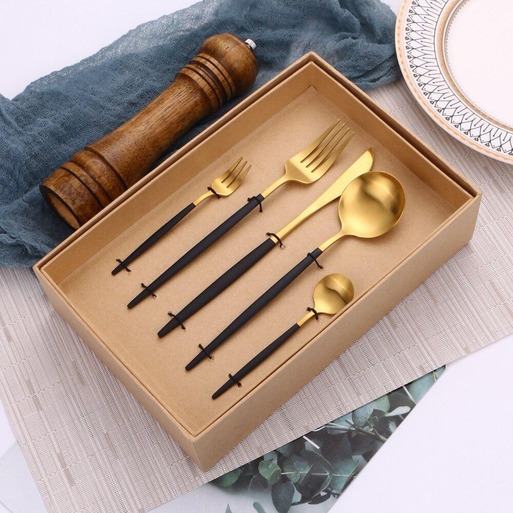30 قطعة الذهب الأسود أواني المطبخ الفولاذ المقاوم للصدأ مجموعة أدوات المائدة الزفاف أطباق الوجبات شوكة ملعقة سكين مجموعة دروبشيبينغ