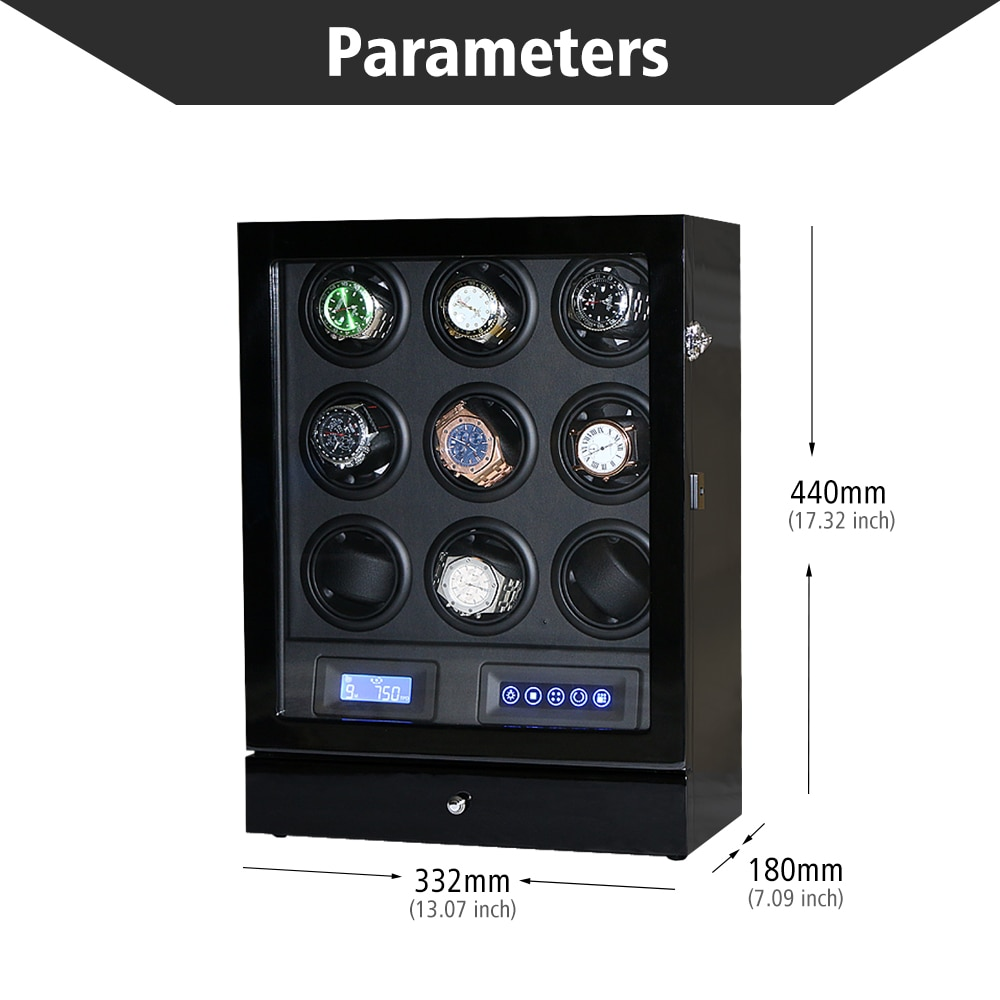 Luxury Automatic watch winder 9 watches box with Black color and TPD contorl mode Wooden watch shaker display Winding box enlarge