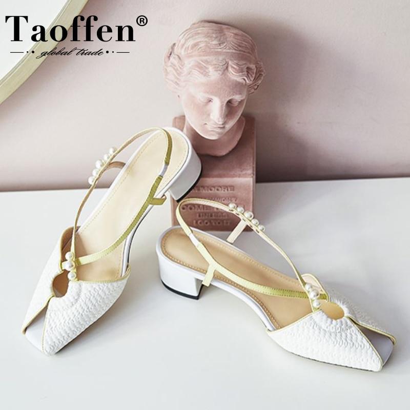 Taoffen novo design feminino sandálias contas de salto grosso couro real mulher sapatos de verão moda festa de casamento sapatos mulher tamanho 34-40