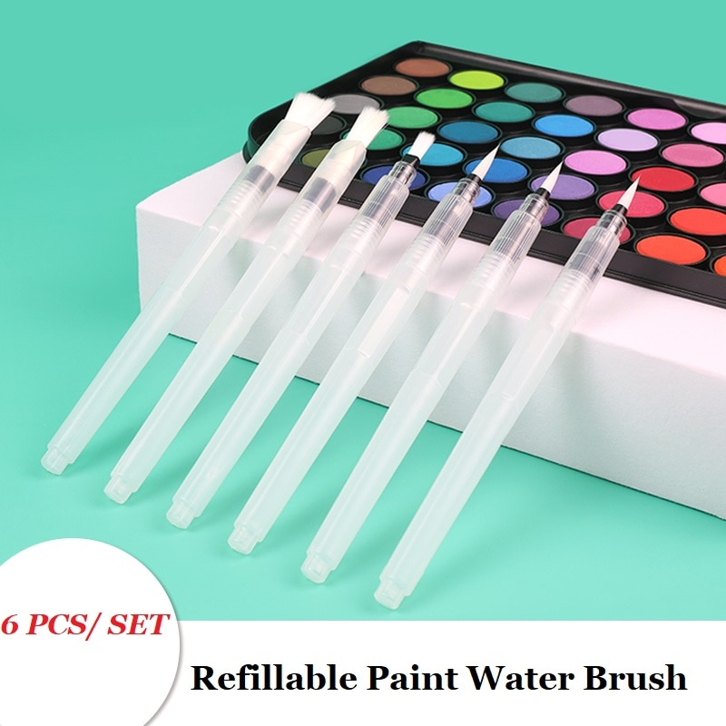 1/3/6 PCS Refillable Paint Brush Water Color Brush Soft Watercolor Brush Ink Pen for Painting Calligraph Drawing Art Supplies