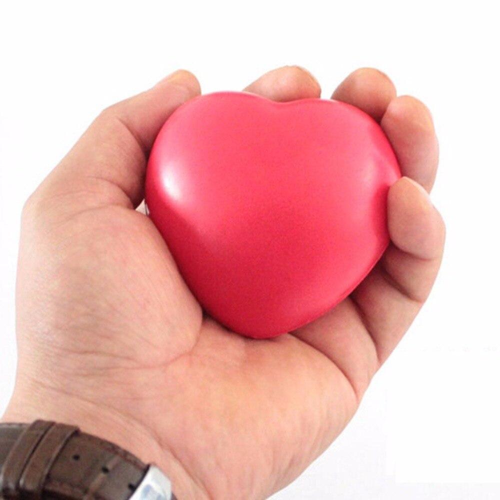 Bola pequeña de juguete con forma de corazón de 7cm, masajeador de manos, pelota antiestrés, bolas de espuma suave para el cuidado de la salud