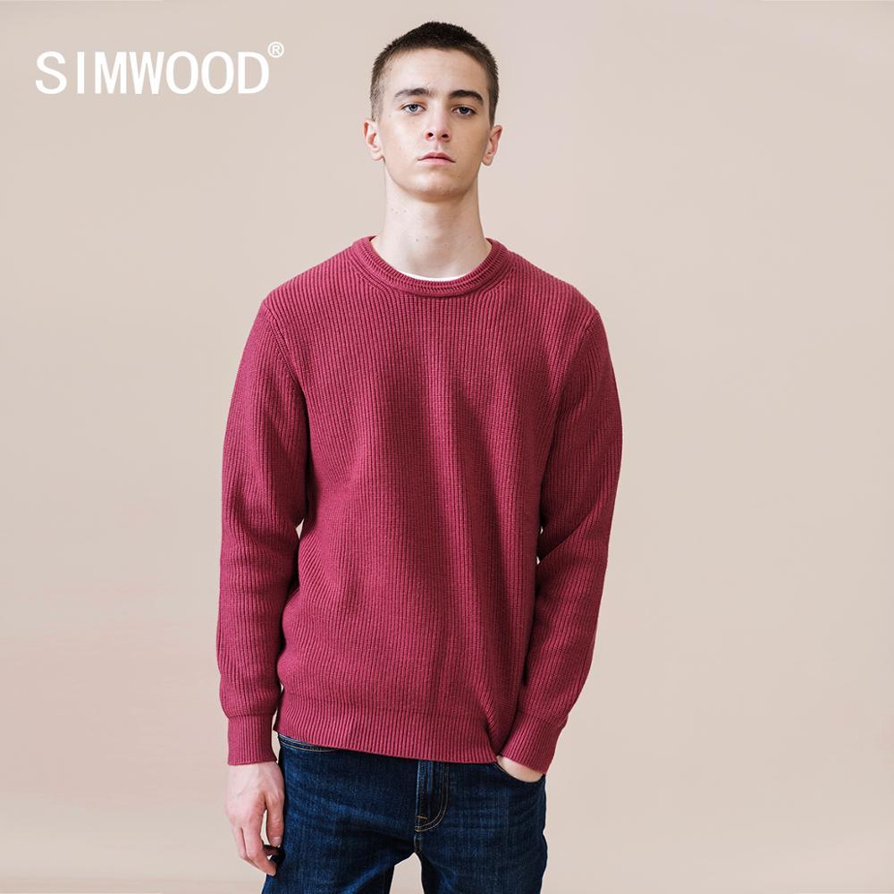 SIMWOOD 2021 خريف شتاء جديد سترة الرجال عادية الأساسية تريكو الدافئة عالية الجودة حجم كبير البلوز SJ121226