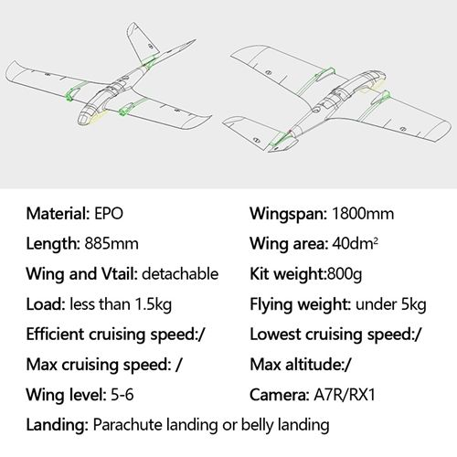 X-UAV TJL Mini Goose 1800mm Wingspan EPO Fixed Wings RC Airplane Frame Kit Plane Drone Helicopter Toy enlarge