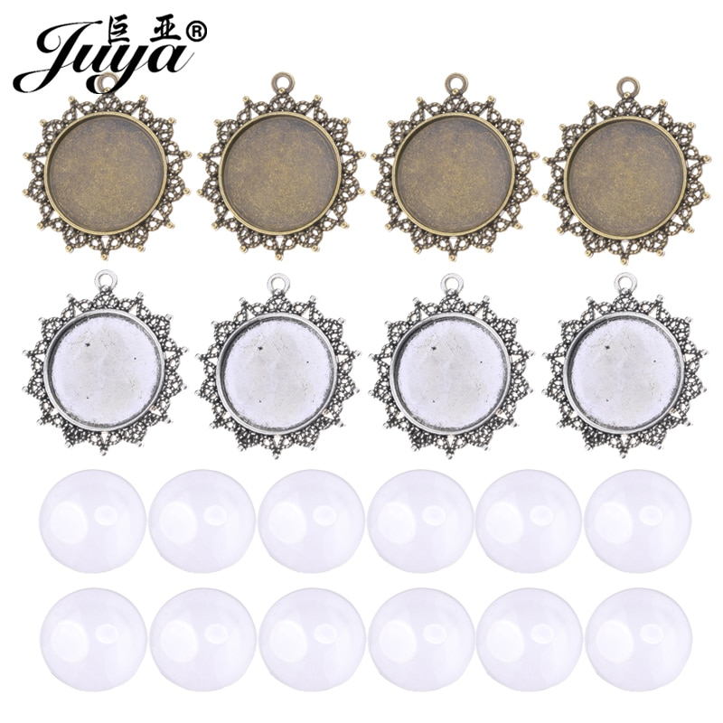 40Pcs/Set Hollow Pendant Settings 25mm Cabochon Base With 25mm Cameo Glass For DIY Jewelry Making Necklace Keychain Accessories