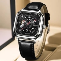 mens automatic mechanical wristwatch casual style waterproof luminous hands hollow design personality male clock