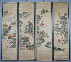 China old scroll painting Four screen paintings Middle hall hanging painting Zhang Hongqian's Landscape Paintings
