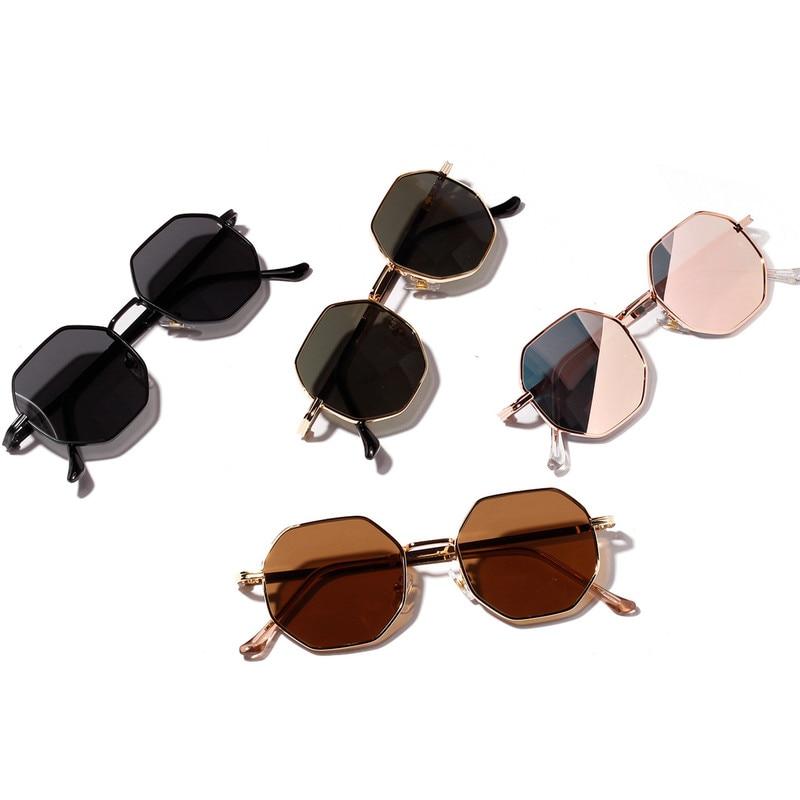 2021 Retro Polygon Driver's goggles Men Women Luxury pink Lens Round Sunglasses Vintage Small frame