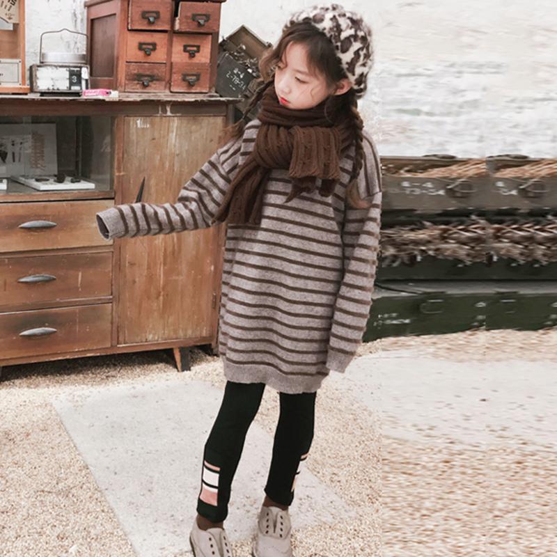 2020 Autumn Winter Kids Girls Casual Knitted Dress Chidldren Striped O-Neck Long Sleeve Sweater Dresses Teen Girls Clothing K101 enlarge