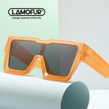 LAMOFUR Brand design Oversized Frame One-Piece Lens Sunglasses 2021 Party Time Self-Portrait Driving