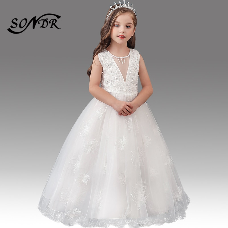 Embroidery Beading Flower Girl Dress HT218 O-Neck Sleeveless Little Girls Communion Gowns Tassel Crystal Pageant Dresses 2020 drop shoulder flower embroidery tassel tie dress