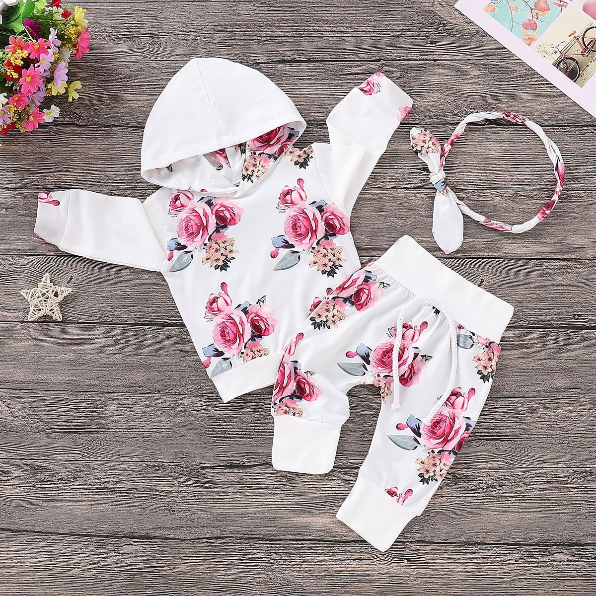 3Pcs Trendy Baby Clothes Set Flower Long Sleeves Tshirt+Pants Set for Baby Newborn