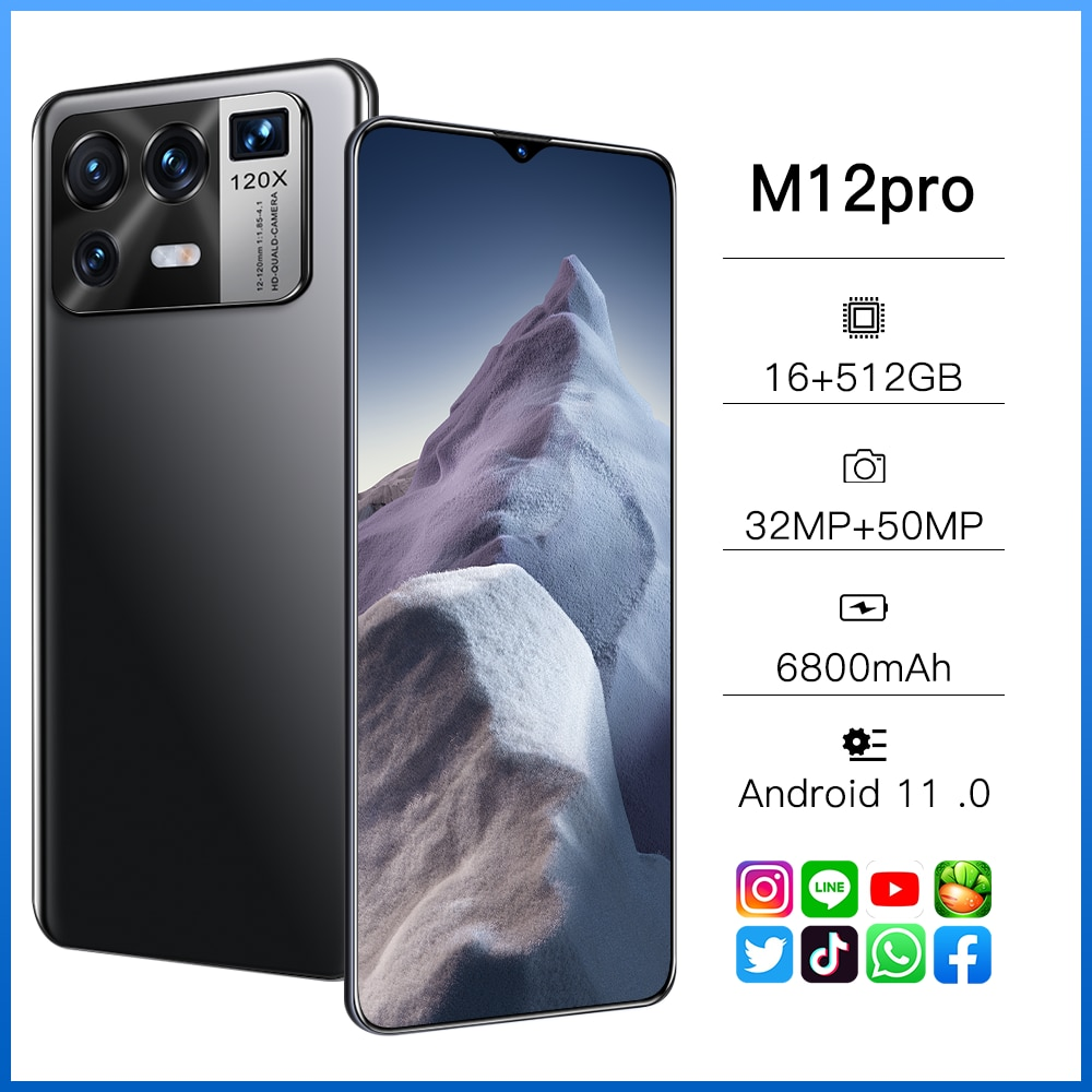 Xiao M12 Pro Global Version Qualcomm 888 16GB 512GB6800mAh 5G 6.7 Inch Mobile Phone 10 Core Cellphone 4G LTE Smartphone Network