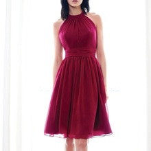 Best Seller A-line Halter Neck Pleated Chiffon Knee Length Bridesmaid Dresses Wedding Guest Party Dr